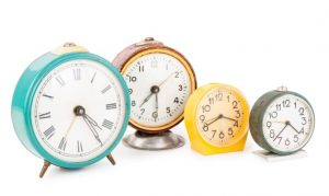 clocks in a row