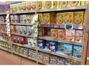 isle of cereals at supermarket