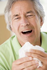 man with allergies